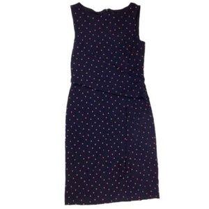 Ann Taylor Sheath Dress Size 2 Polka Dot Navy